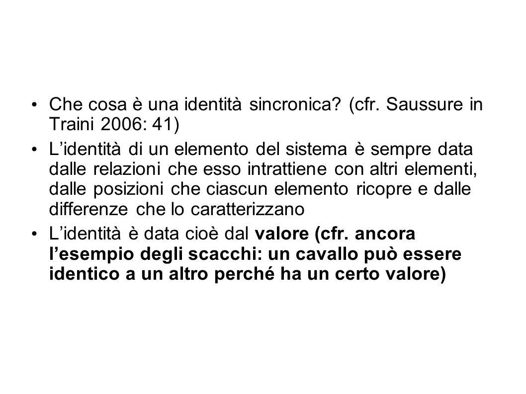 Che cosa è una identità sincronica (cfr. Saussure in Traini 2006: 41)