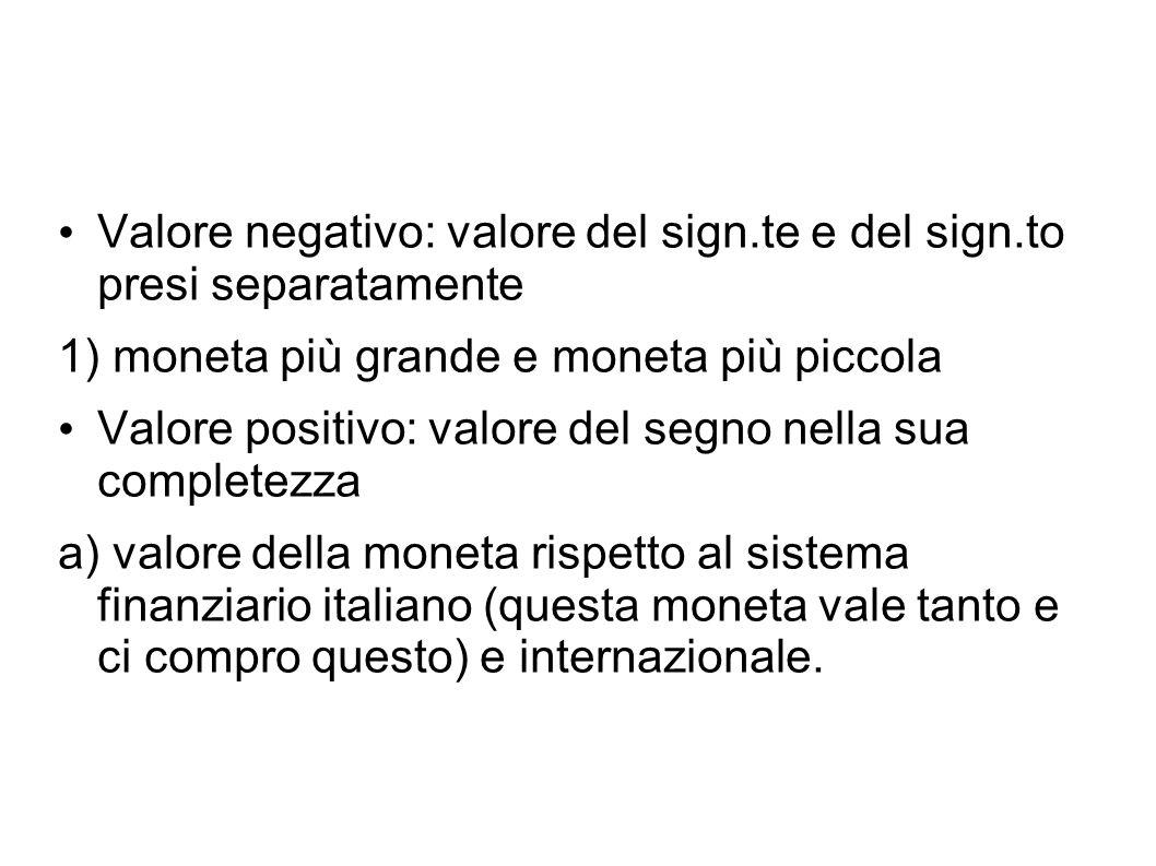 Valore negativo: valore del sign.te e del sign.to presi separatamente