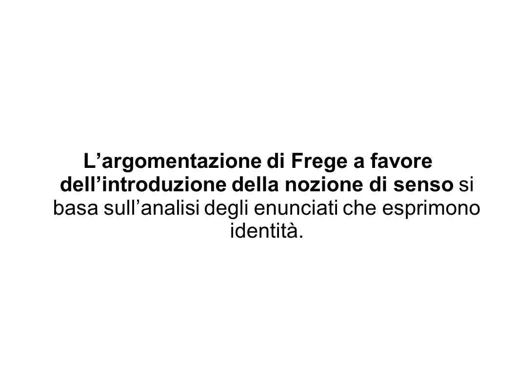 L'argomentazione di Frege a favore dell'introduzione della nozione di senso si basa sull'analisi degli enunciati che esprimono identità.
