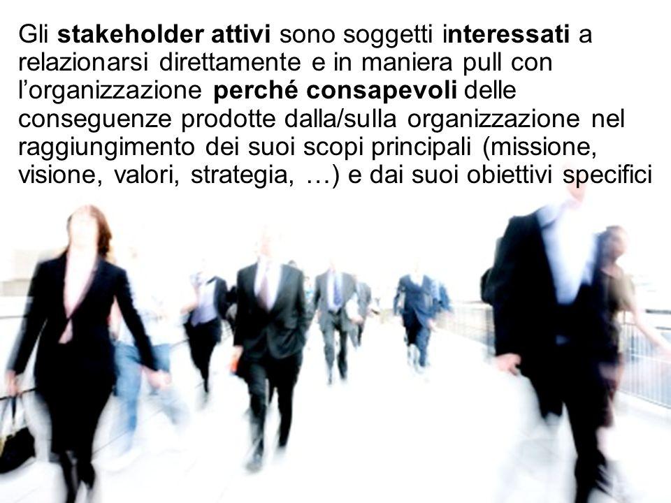 Gli stakeholder attivi sono soggetti interessati a relazionarsi direttamente e in maniera pull con l'organizzazione perché consapevoli delle conseguenze prodotte dalla/sulla organizzazione nel raggiungimento dei suoi scopi principali (missione, visione, valori, strategia, …) e dai suoi obiettivi specifici