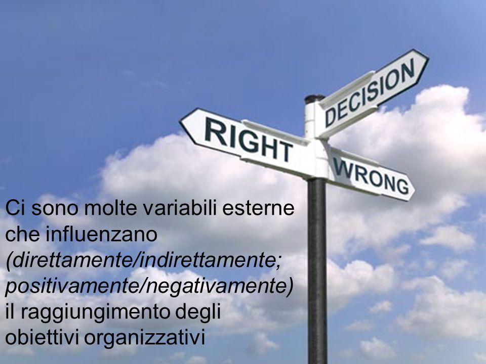 Ci sono molte variabili esterne che influenzano (direttamente/indirettamente; positivamente/negativamente) il raggiungimento degli obiettivi organizzativi