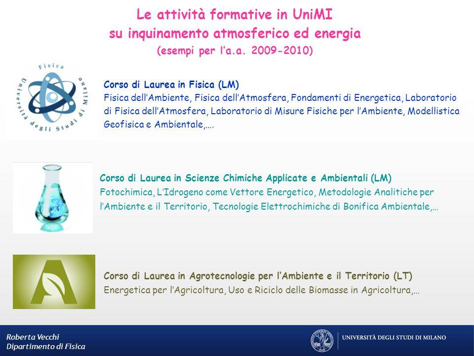 Le attività formative in UniMI su inquinamento atmosferico ed energia