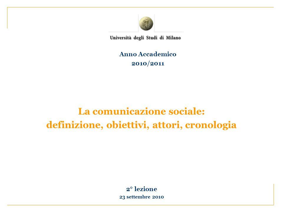La comunicazione sociale: definizione, obiettivi, attori, cronologia