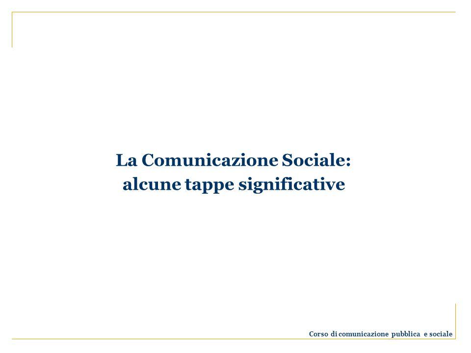 La Comunicazione Sociale: alcune tappe significative