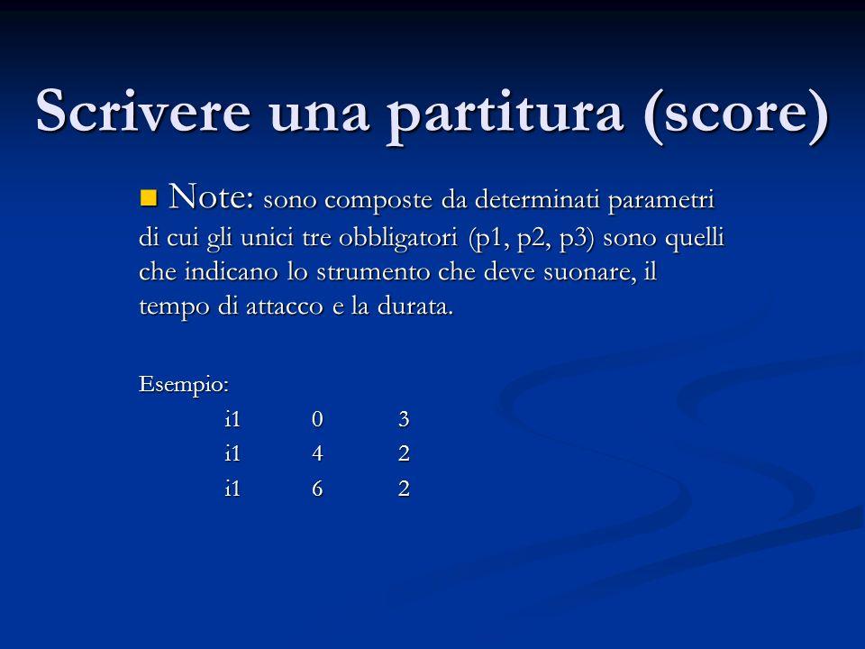 Scrivere una partitura (score)