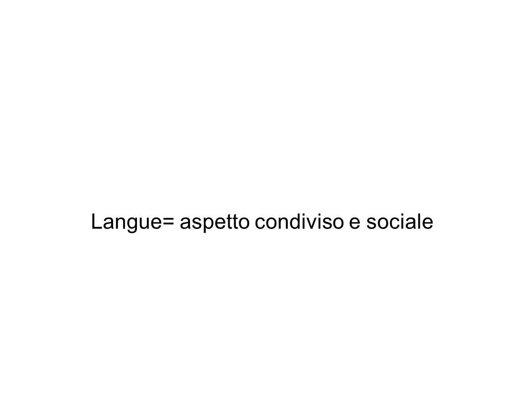 Langue= aspetto condiviso e sociale