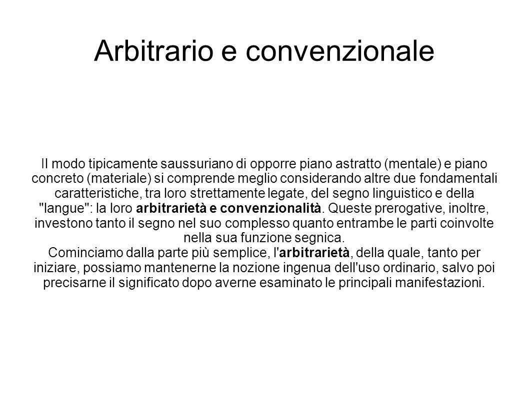 Arbitrario e convenzionale