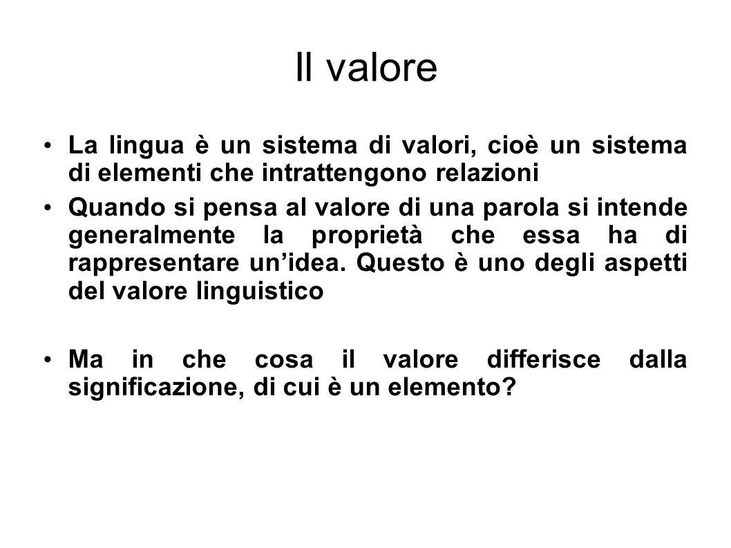 Il valore La lingua è un sistema di valori, cioè un sistema di elementi che intrattengono relazioni.