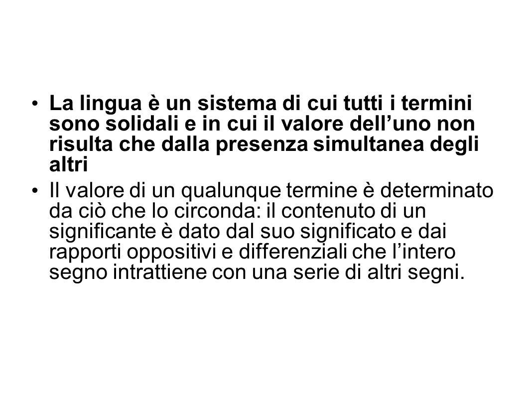 La lingua è un sistema di cui tutti i termini sono solidali e in cui il valore dell'uno non risulta che dalla presenza simultanea degli altri