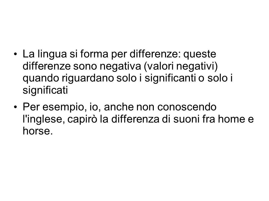 La lingua si forma per differenze: queste differenze sono negativa (valori negativi) quando riguardano solo i significanti o solo i significati