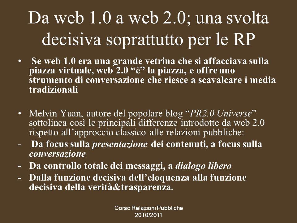 Da web 1.0 a web 2.0; una svolta decisiva soprattutto per le RP