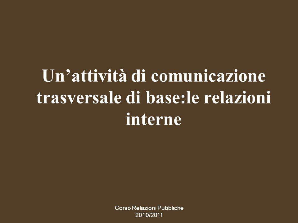 Un'attività di comunicazione trasversale di base:le relazioni interne