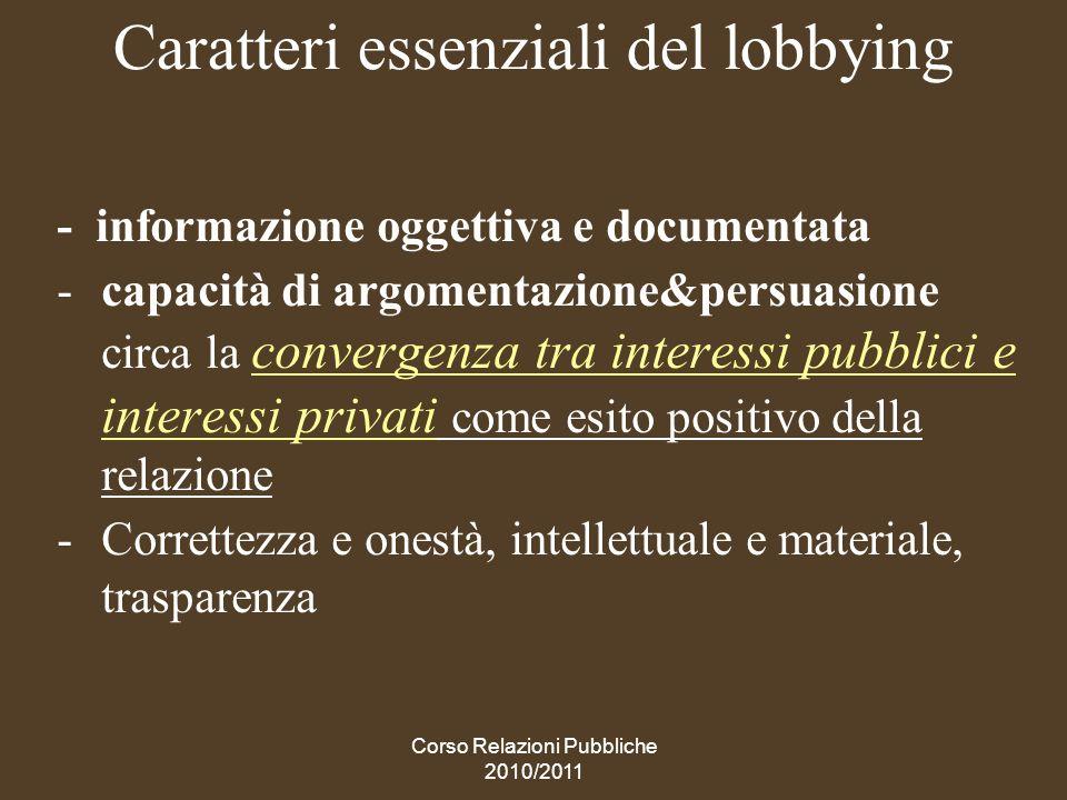 Caratteri essenziali del lobbying