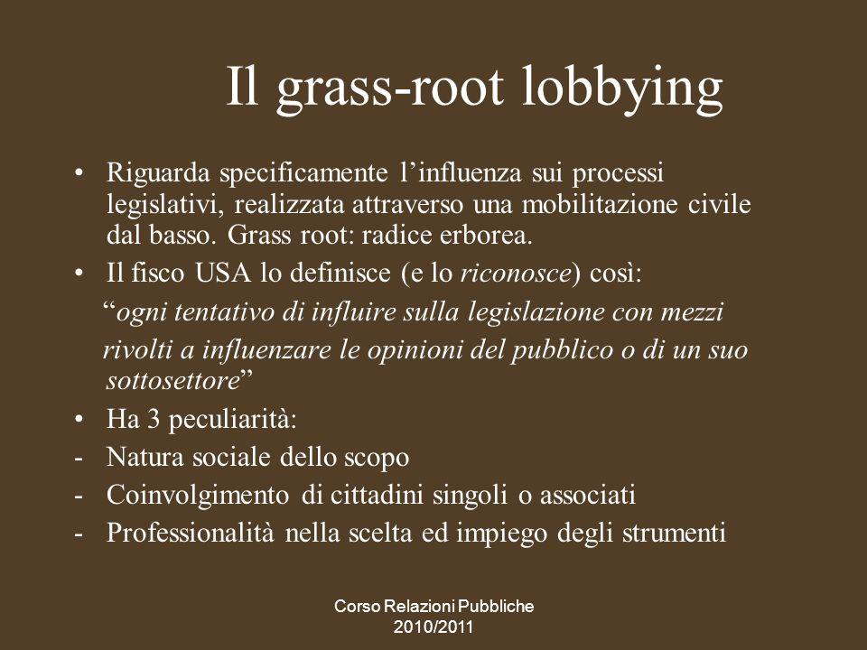 Il grass-root lobbying