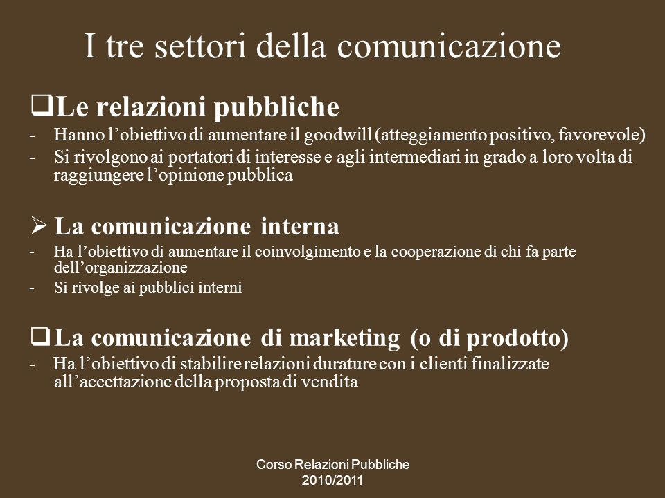 I tre settori della comunicazione