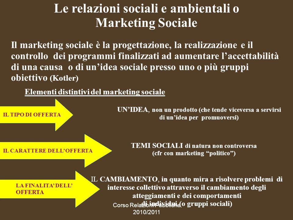 Le relazioni sociali e ambientali o Marketing Sociale