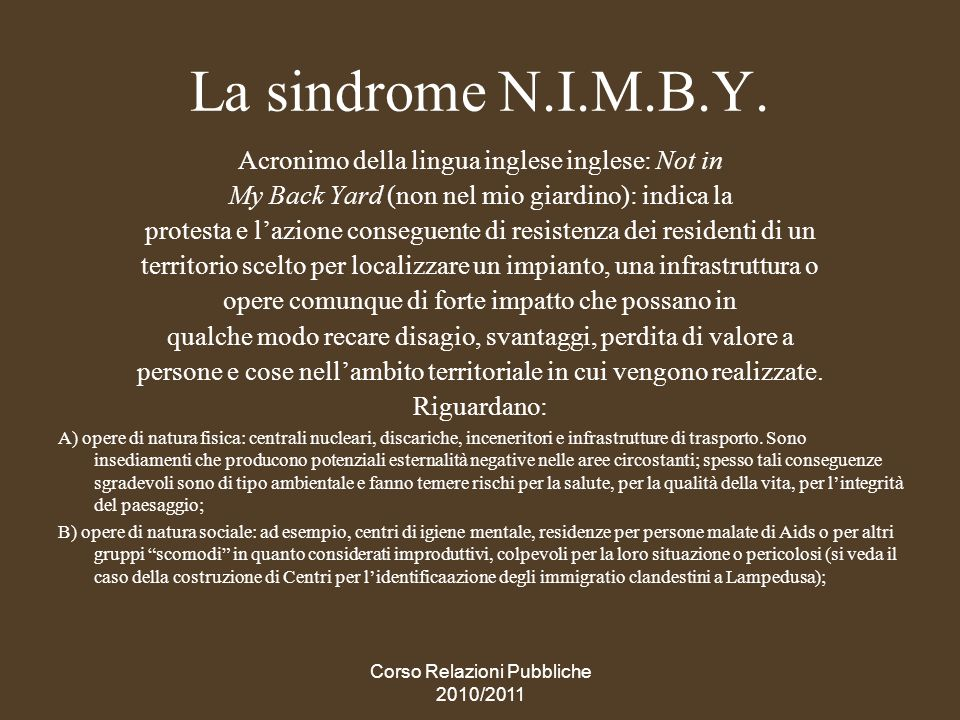 La sindrome N.I.M.B.Y. Acronimo della lingua inglese inglese: Not in