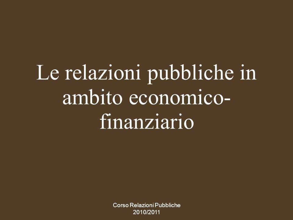 Le relazioni pubbliche in ambito economico-finanziario