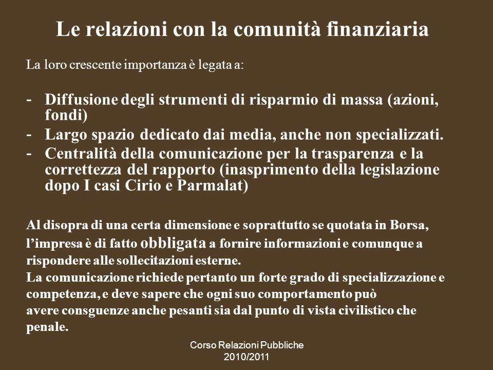 Le relazioni con la comunità finanziaria