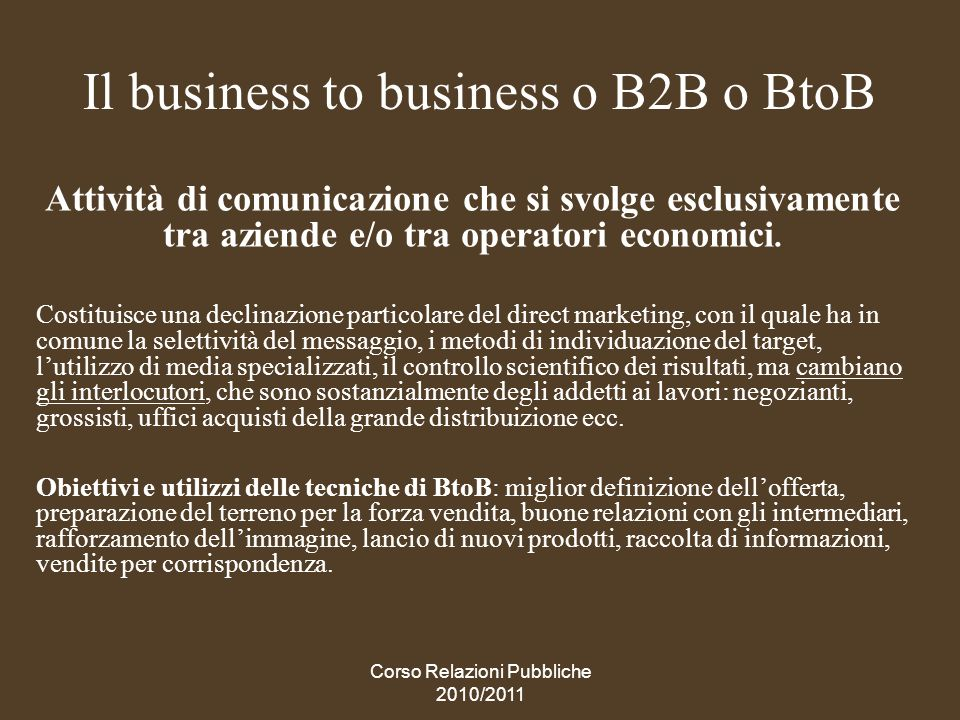 Il business to business o B2B o BtoB