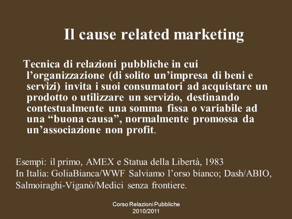 Il cause related marketing