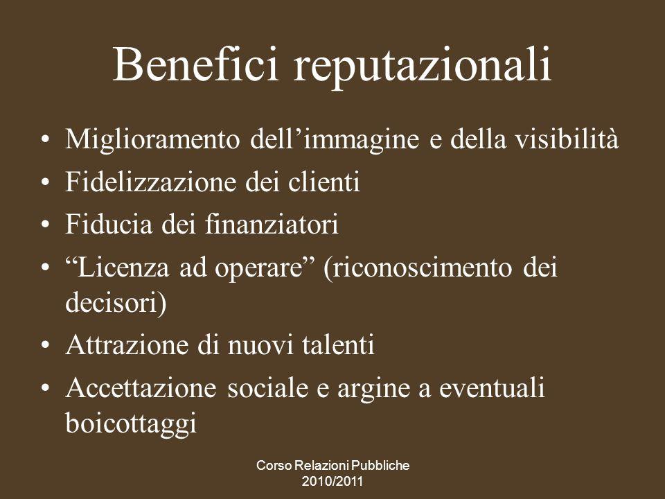 Benefici reputazionali