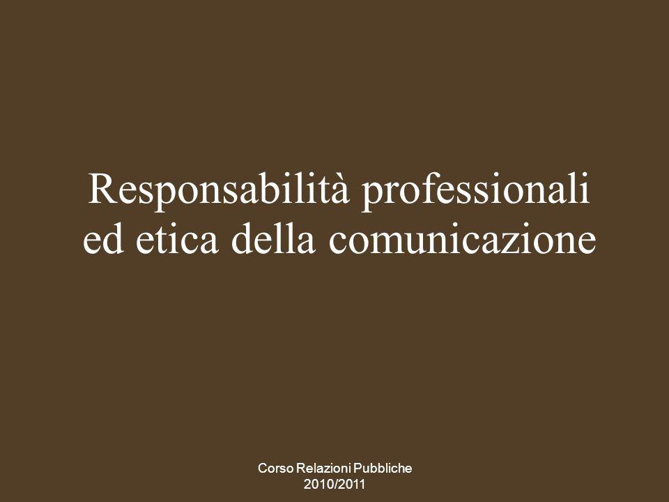 Responsabilità professionali ed etica della comunicazione