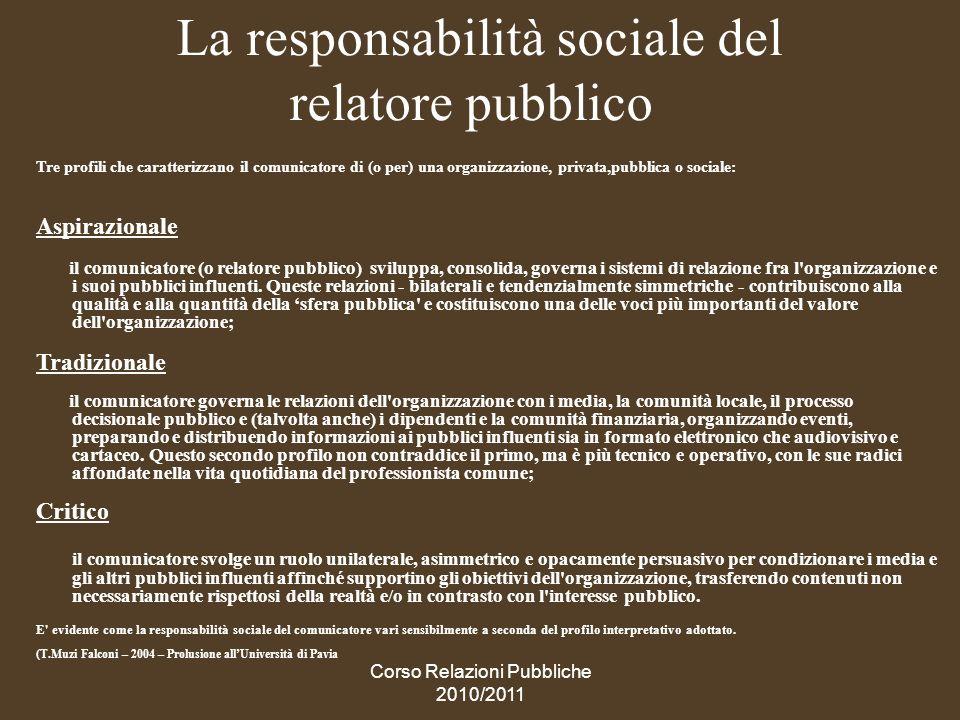 La responsabilità sociale del relatore pubblico