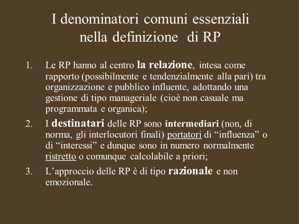 I denominatori comuni essenziali nella definizione di RP