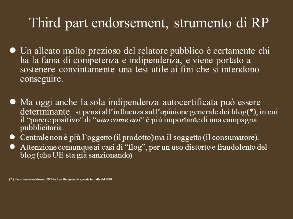 Third part endorsement, strumento di RP