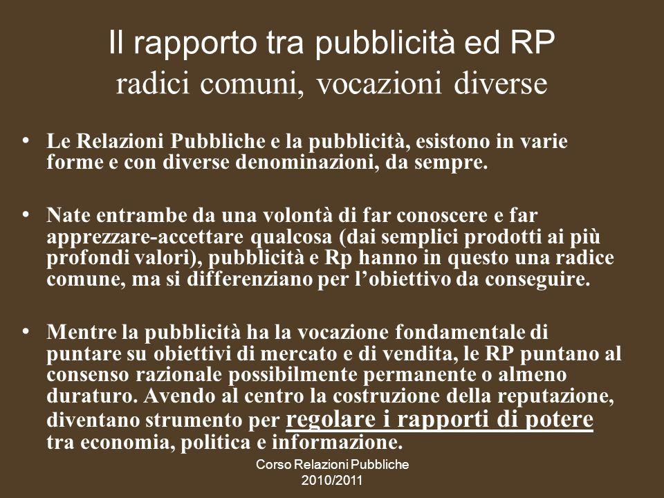 Il rapporto tra pubblicità ed RP radici comuni, vocazioni diverse