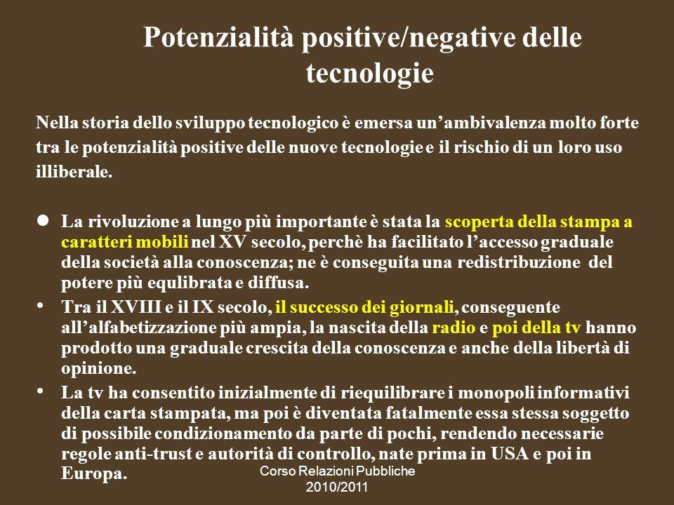 Potenzialità positive/negative delle tecnologie