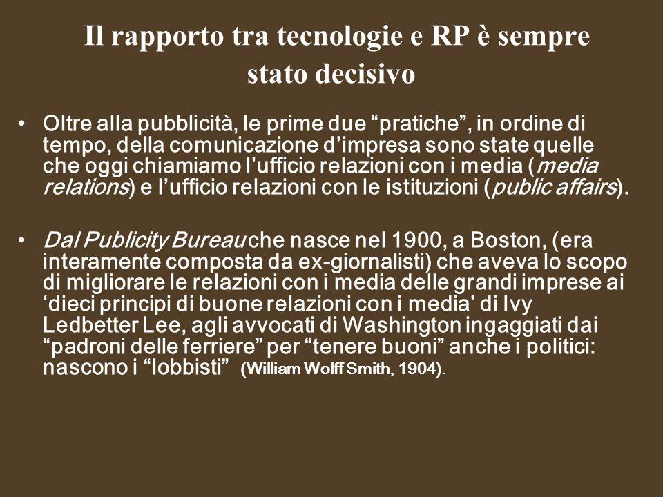 Il rapporto tra tecnologie e RP è sempre stato decisivo