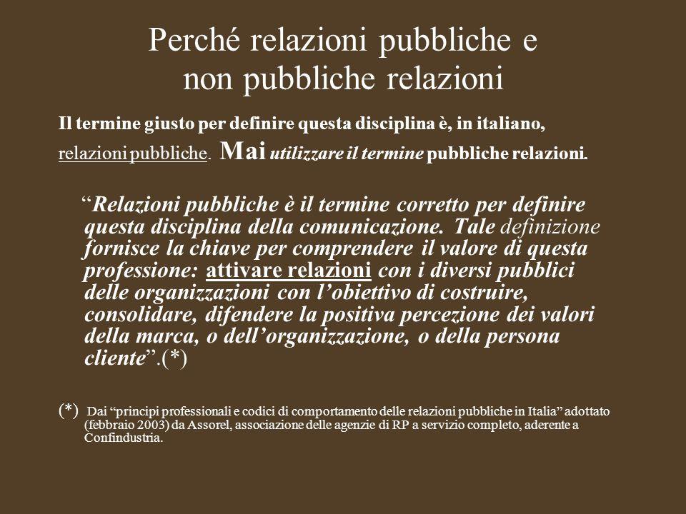 Perché relazioni pubbliche e non pubbliche relazioni