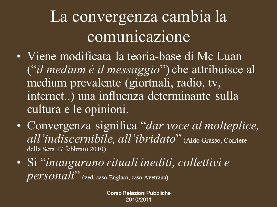 La convergenza cambia la comunicazione