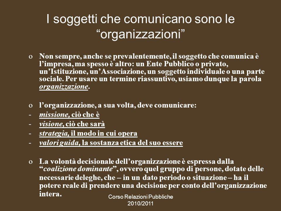 I soggetti che comunicano sono le organizzazioni
