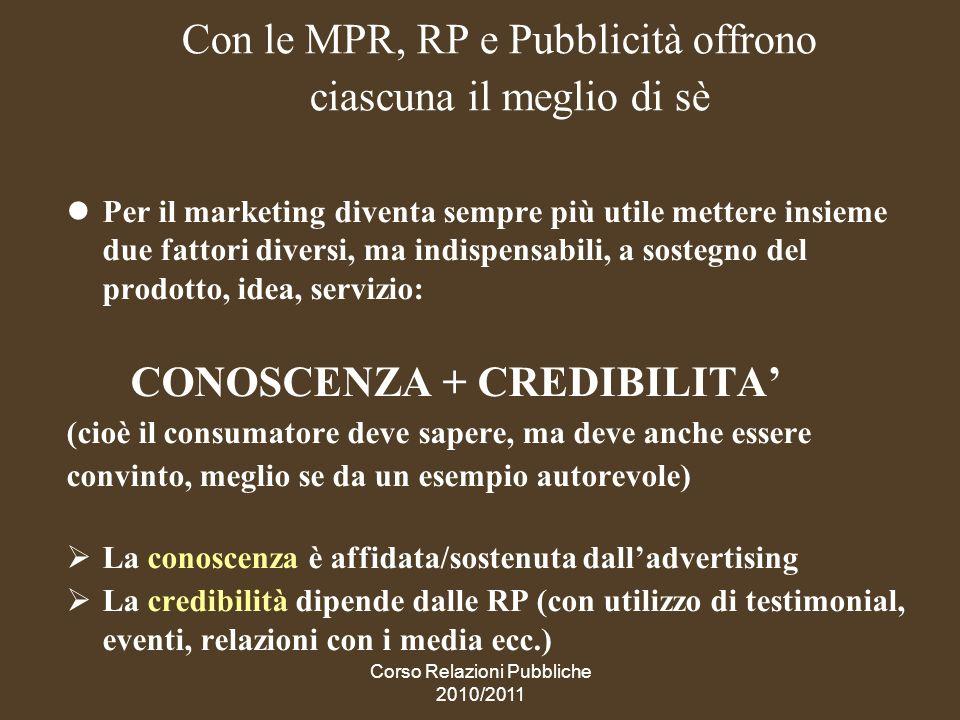 Con le MPR, RP e Pubblicità offrono ciascuna il meglio di sè