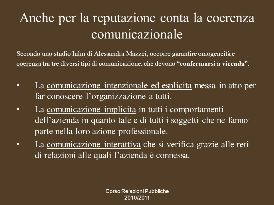 Anche per la reputazione conta la coerenza comunicazionale