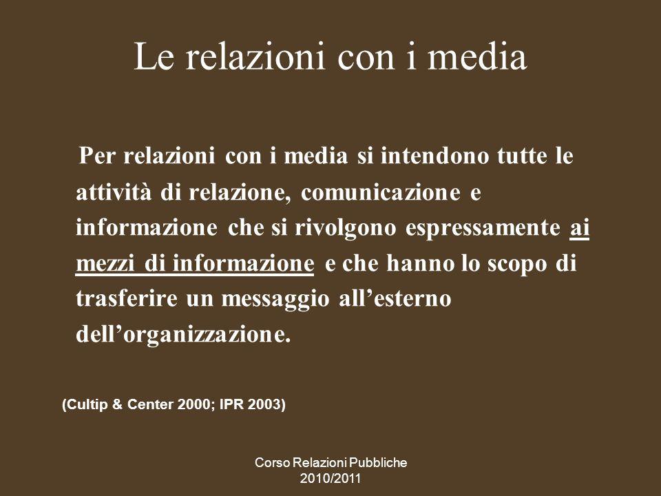Le relazioni con i media