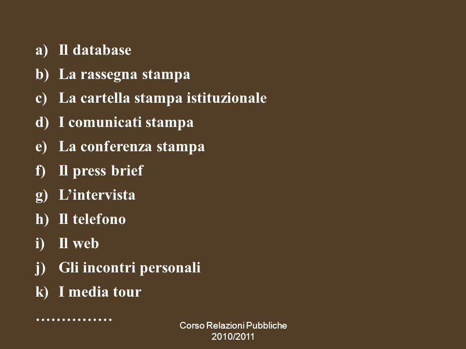 Corso Relazioni Pubbliche 2010/2011