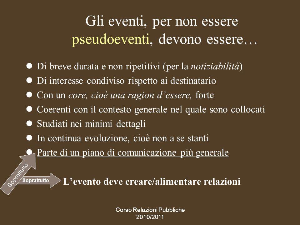 Gli eventi, per non essere pseudoeventi, devono essere…