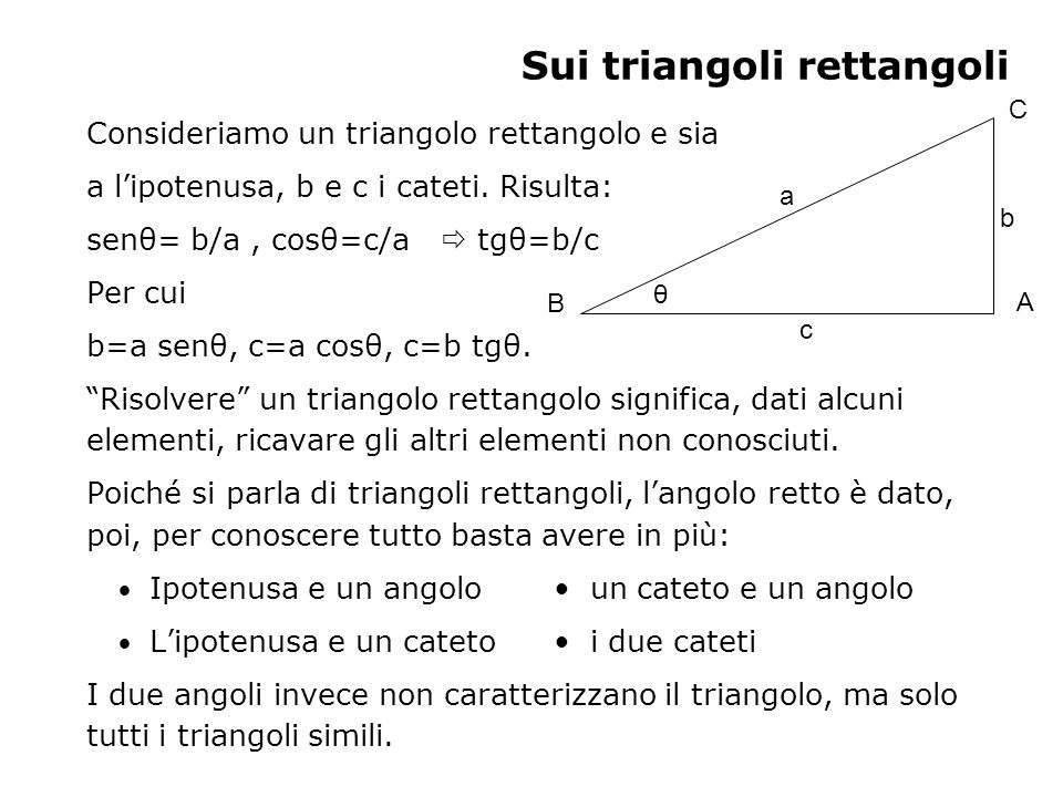 Sui triangoli rettangoli