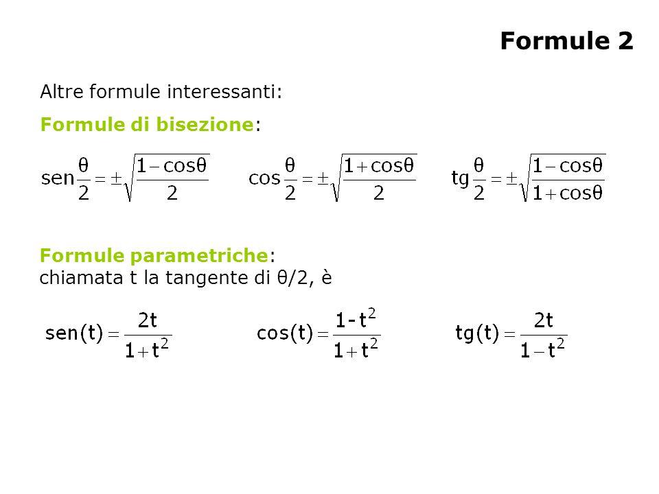 Formule 2 Altre formule interessanti: Formule di bisezione: