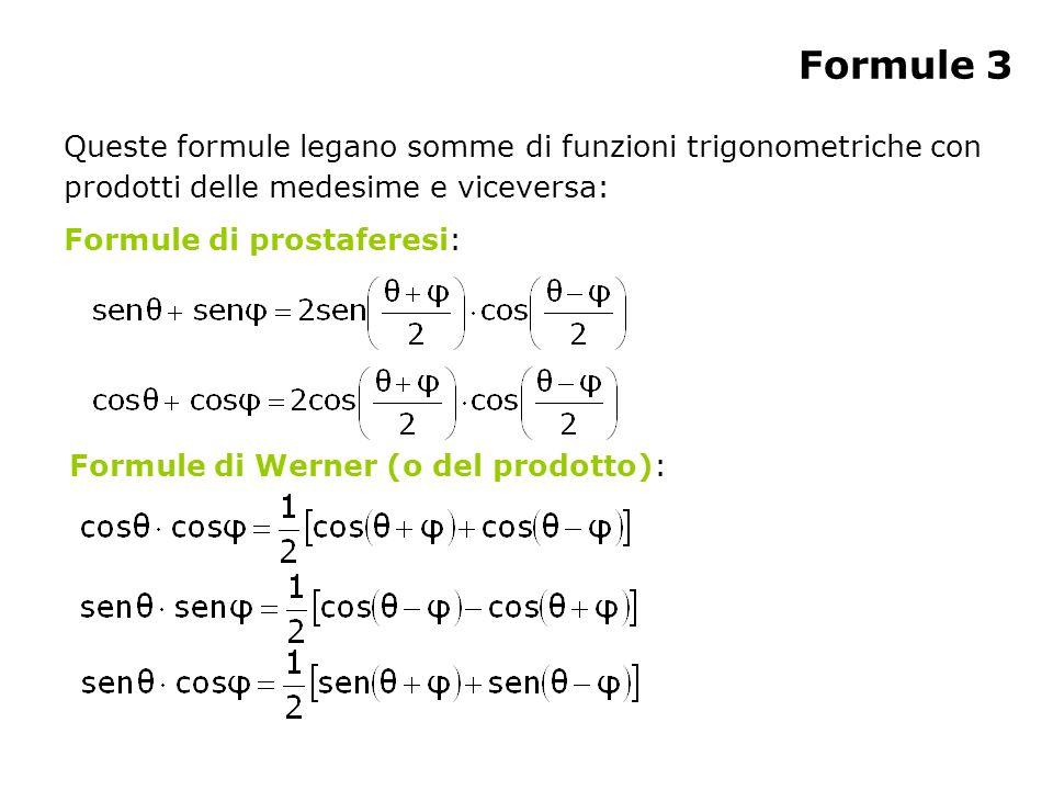 Formule 3 Queste formule legano somme di funzioni trigonometriche con prodotti delle medesime e viceversa: