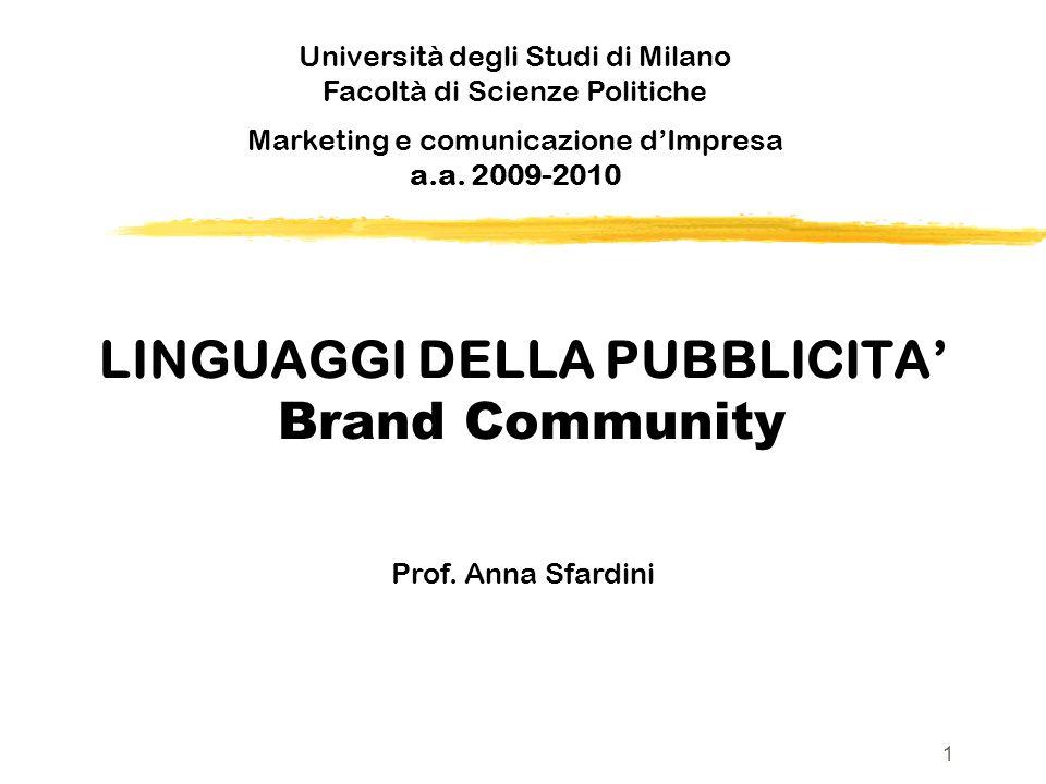 LINGUAGGI DELLA PUBBLICITA' Brand Community