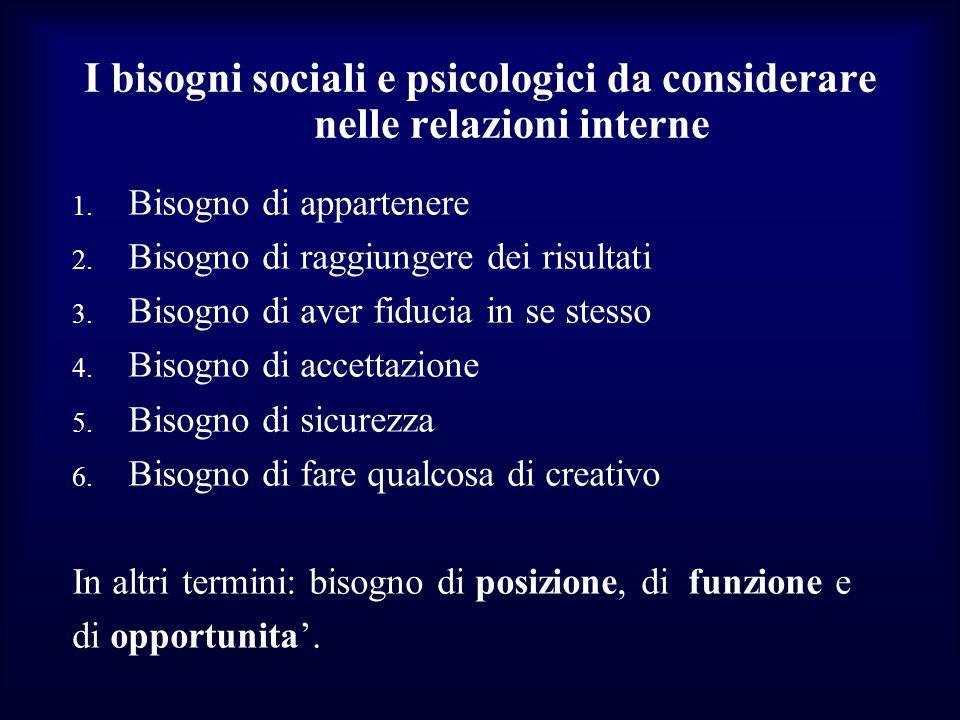 I bisogni sociali e psicologici da considerare nelle relazioni interne