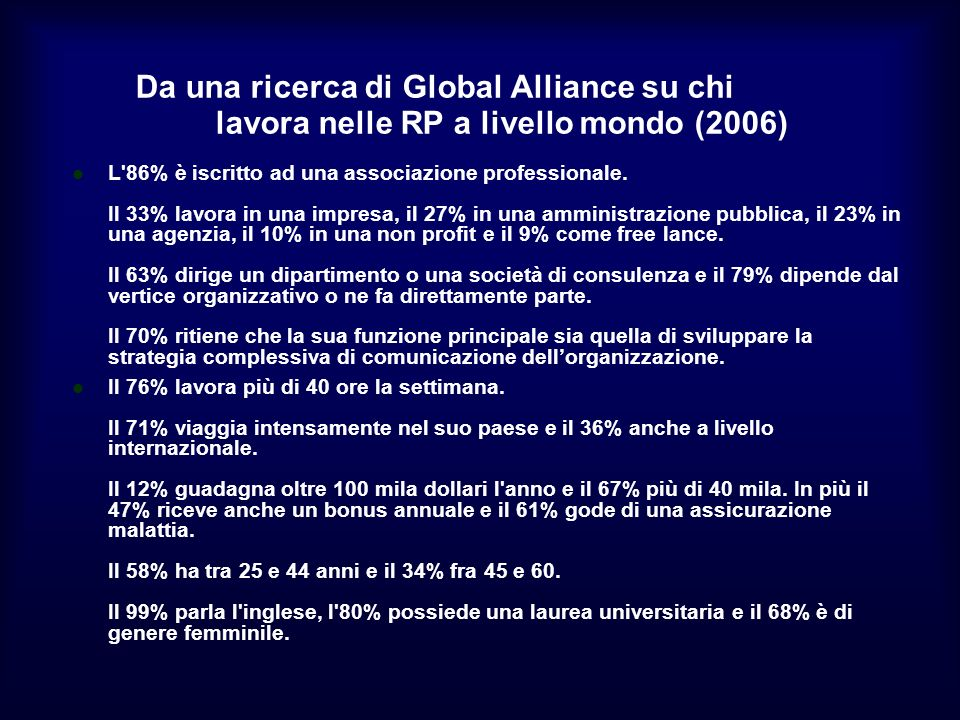 Da una ricerca di Global Alliance su chi