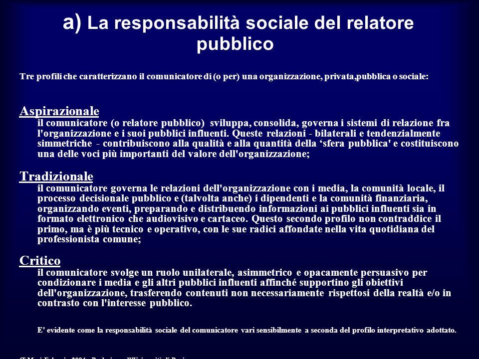 a) La responsabilità sociale del relatore pubblico