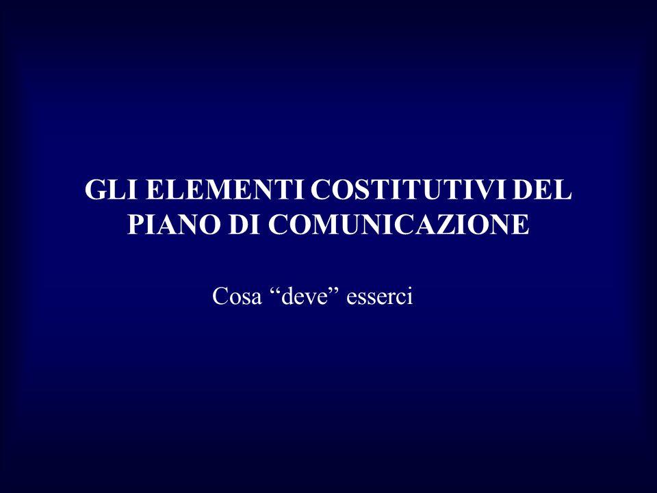 GLI ELEMENTI COSTITUTIVI DEL PIANO DI COMUNICAZIONE