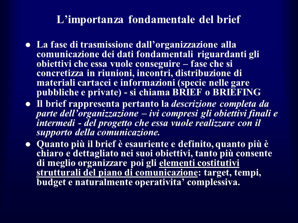 L'importanza fondamentale del brief